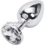 Анальная пробка с прозрачным кристаллом, 7.5 см гладкая серебряная
