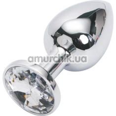 Анальная пробка с прозрачным кристаллом, 7.5 см гладкая серебряная - Фото №1