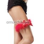 Подвязка с красным бантиком Marabou Garter, красная - Фото №1