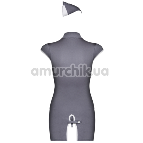 Костюм стюардессы Obsessive Stewardess серый: платье + трусики + пилотка
