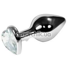 Анальная пробка с кристаллом SWAROVSKI Rosebud Heart Plug Clear, серебристая - Фото №1