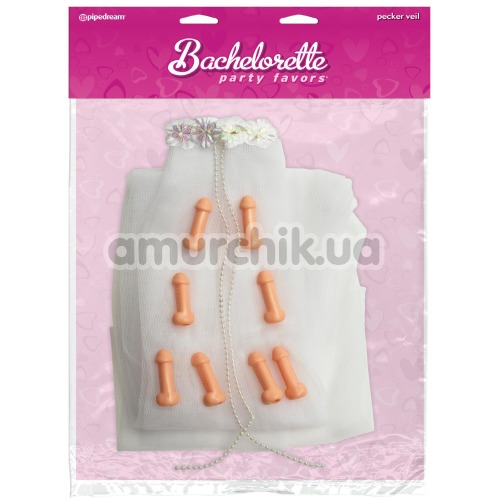 Фата с пенисами Bachelorette Party Favors Pecker Veil, белая