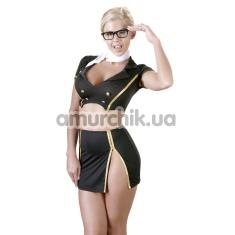 Костюм стюардессы Cottelli Collection Costumes чёрный: юбка + топ + шарфик - Фото №1