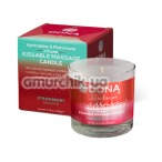 Свеча для массажа Dona Let Me Kiss You Kissable Massage Candle Strawberry Souffle - клубничное суфле, 135 мл - Фото №1