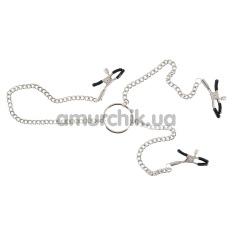 Зажимы для сосков и клитора Nipple and Clit Chain, серебряные