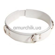 Ошейник с тремя колечками двойной sLash Slave Leather Collar, белый - Фото №1