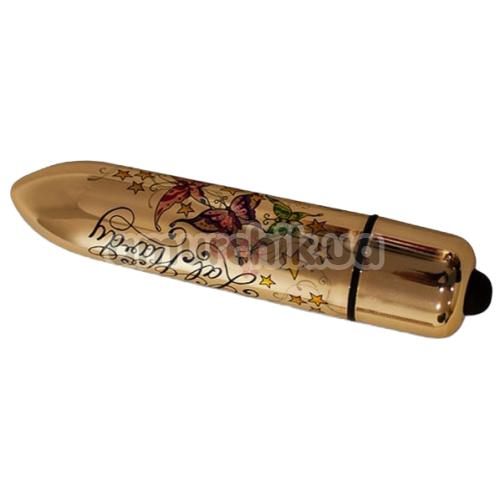 Клиторальный вибратор Rocks-Off Lal Hardy RO-120 mm 10-Speed Wings of Desire, золотой