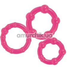 Эрекционные кольца Stay Hard Three Rings, розовые - Фото №1
