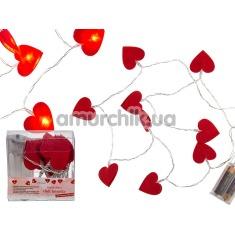 Гирлянда в виде сердечек Roxan, красная