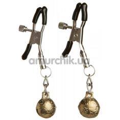 Зажимы для сосков Loveshop Gold Bell с колокольчиками, золотые - Фото №1