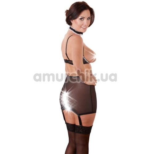 Костюм горничной Cottelli Collection 2470454 чёрный: мини-юбка + бюстгальтер + чокер