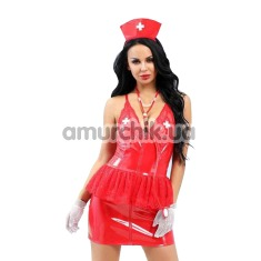 Костюм медсестры JSY Nun Costume 6517 красный: топ + юбка + головной убор + перчатки + стетоскоп - Фото №1