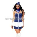 Костюм стюардессы JSY Sexy Lingerie SO2289 синий: головной убор + платок + трусики + топ + мини-юбка - Фото №1