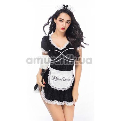 Костюм горничной JSY Nun Costume 6926 черный: платье + головной убор + трусики-стринги + фартук + метелочка