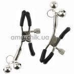 Зажимы для сосков Glocke Nippel с колокольчиками, серебряные - Фото №1