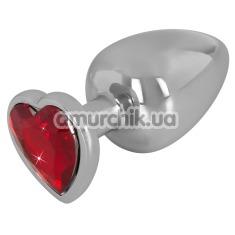 Анальная пробка с красным кристаллом Diamond Anal Plug Large, серебряная - Фото №1