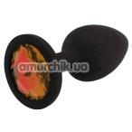 Анальная пробка с оранжевым кристаллом SWAROVSKI Zcz М, черная - Фото №1