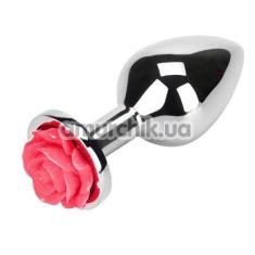 Анальная пробка с малиновой розочкой Loveshop Flower, серебряная - Фото №1