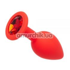 Анальная пробка с красным кристаллом Loveshop Seamless Butt Plug S, красная - Фото №1