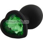 Анальная пробка с зеленым кристаллом Silicone Jewelled Butt Plug Heart Small, черная