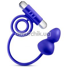 Анальная пробка с эрекционным кольцом с вибрацией Performance Penetrator, синяя - Фото №1