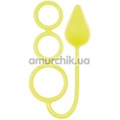 Анальная пробка с эрекционным кольцом Renegade 3 Ring Circus, желтая - Фото №1
