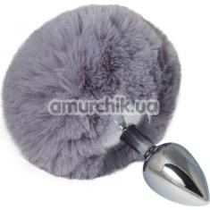 Анальная пробка с серым хвостиком sLash Honey Bunny Tail S, серебряная - Фото №1