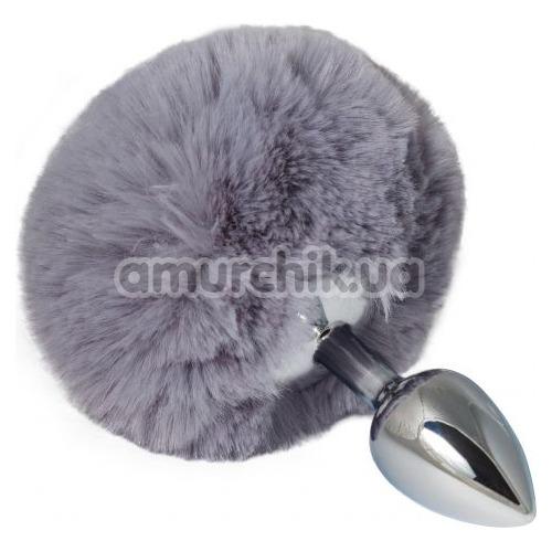 Анальная пробка с серым хвостиком sLash Honey Bunny Tail S, серебряная