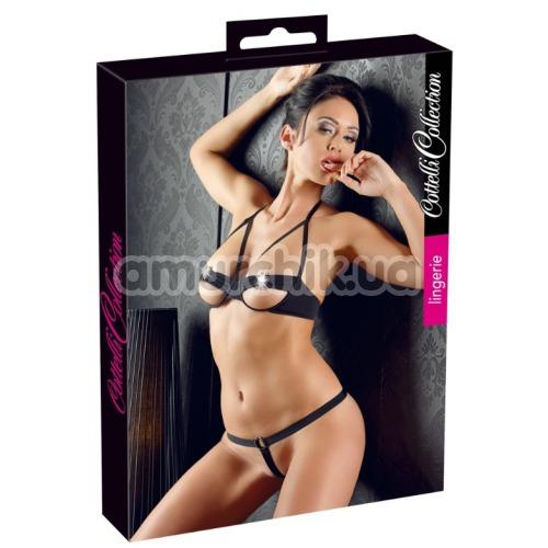 Комплект Cottelli Collection Lingerie Bra Set черный: бюстгальтер + трусики-стринги