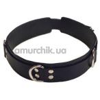 Ошейник с тремя колечками двойной sLash Slave Leather Collar, черный - Фото №1