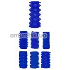 Набор из 7 насадок на пенис Get Lock Penis Sleeve Kits, синий - Фото №1