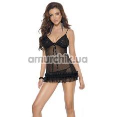 Комплект Mini Dress & String черный: комбинация + трусики-стринги (модель R473010) - Фото №1