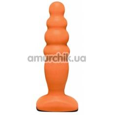 Анальная пробка Back Door Small Bubble Plug, оранжевая - Фото №1