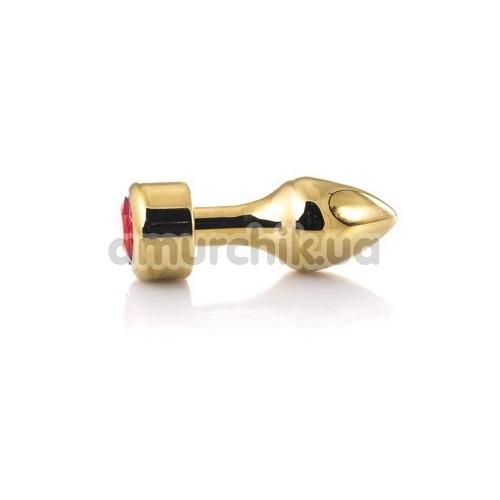 Анальная пробка с красным кристаллом Toyfa Metal 717034-9, золотая