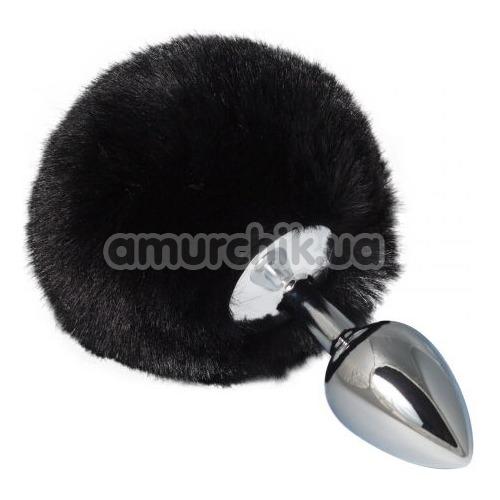 Анальная пробка с черным хвостиком sLash Honey Bunny Tail S, серебряная