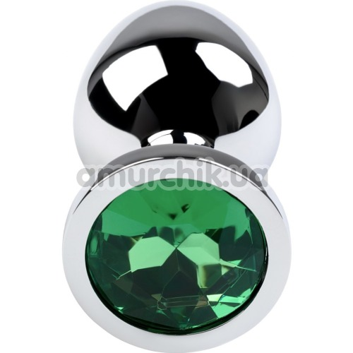 Анальная пробка с зеленым кристаллом Toyfa Metal 717002-7, серебряная