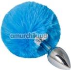 Анальная пробка с голубым хвостиком sLash Honey Bunny Tail S, серебряная