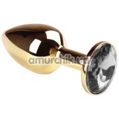 Анальная пробка с прозрачным кристаллом SWAROVSKI Gold Diamond Small, золотая - Фото №1