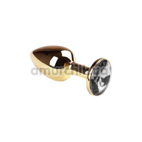 Анальная пробка с прозрачным кристаллом SWAROVSKI Gold Diamond Small, золотая