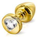 Анальная пробка с прозрачным кристаллом SWAROVSKI Anni R Heart T2, золотистая - Фото №1