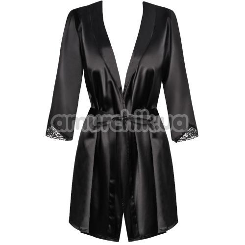 Комплект Obsessive Satinia черный: халат + трусики-стринги