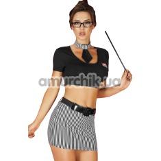 Костюм учительницы Chilirose (модель CR3605) черный: топ + юбочка + галстук + очки + указка - Фото №1