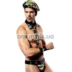 Костюм военного JSY Army 9810 зелено-черный: трусы + головной убор + напульсники + воротник + галстук - Фото №1