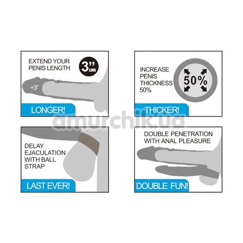 Двойная насадка - удлинитель пениса с вибрацией Lovetoy Pleasure X-Tender Series LV314102, телесная