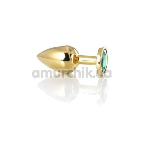 Анальная пробка с зеленым кристаллом Toyfa Metal 717005-7, золотая