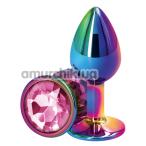 Анальная пробка с розовым кристаллом SWAROVSKI Rear Assets S, радужная - Фото №1