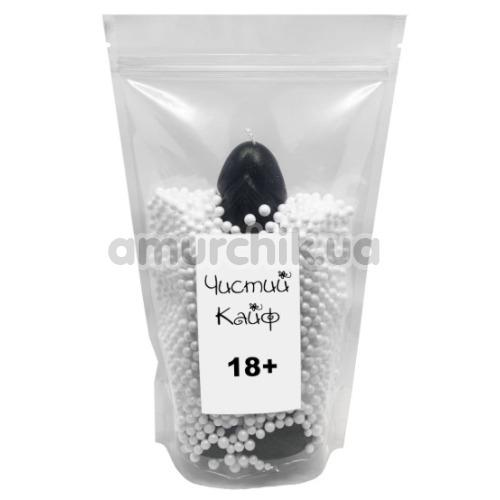 Свеча в форме фаллоса Чистий Кайф Black Size L, черная