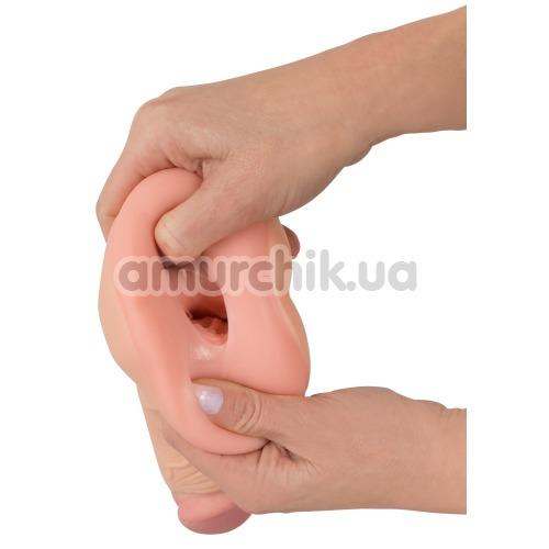 Мастурбатор + насадка на пенис Nature Skin 2 in 1 Extension + Masturbator, телесный