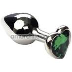 Анальная пробка с зеленым кристаллом SWAROVSKI Silver Heart Emerald, серебряная - Фото №1