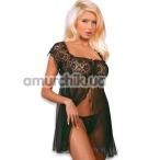 Комплект Josephine черный: пеньюар + трусики-стринги - Фото №1